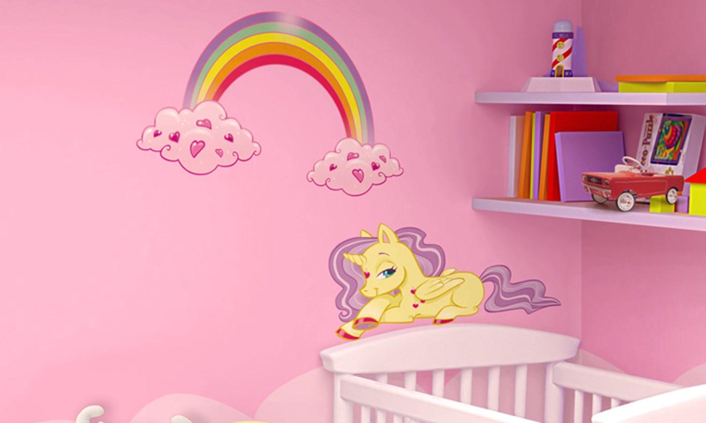 Idee Pittura Cameretta Bambina stickers murali bambini - cameretta i mini unicorni